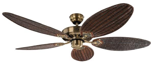 CasaFan Deckenventilator CLASSIC ROYAL 132 MA - Gehäuse Messing antik - 5 Flügel Rattan antik - Ø 132 cm