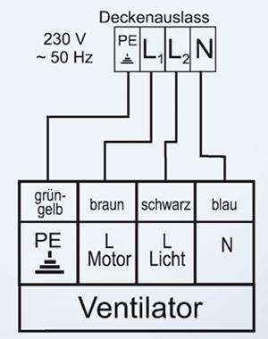 Beide Von Netz Kommenden Phasen Werden Getrennt Auf Licht Und Motor  Geschaltet. Bei Modellen Mit Stufen Zugschaltern (ROYAL, FLAT, OFFICE FAN,  ALU, MERKUR, ...