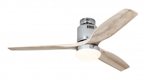 CasaFan Deckenventilator Aerodynamix Eco CH - Chrom glänzend - 3 Flügel Holz natur - mit Leuchte - mit Fernbedienung - energiesparend