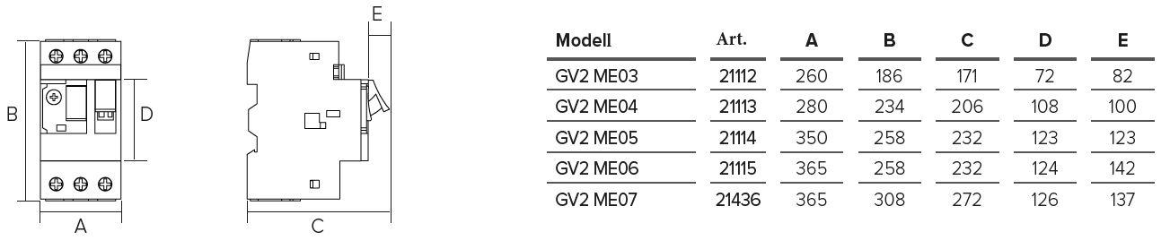 Abmessungen-GV2-Motorschutzschalter