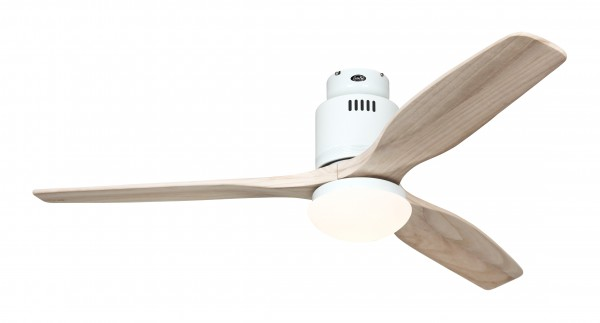 Deckenventilator Aerodynamix Eco WE - Weiß - 3 Flügel Holz natur - mit Leuchte - mit Fernbedienung - energiesparend