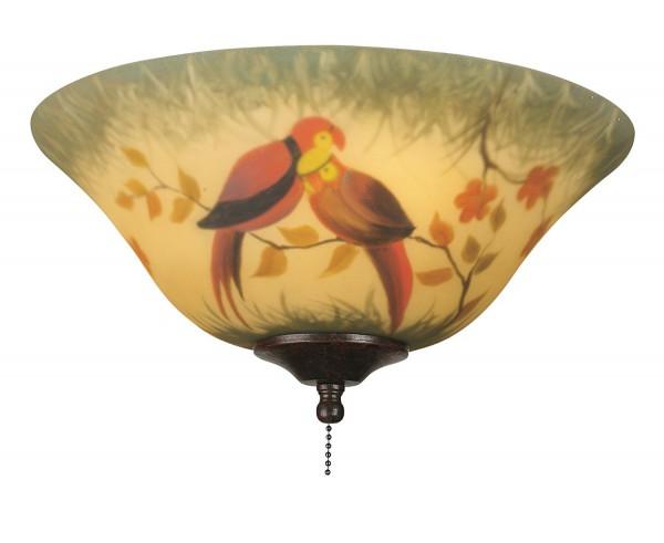 Leuchtenglas Schale handgem. Papageienmotiv