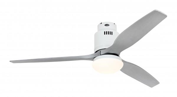 CasaFan Deckenventilator Aerodynamix Eco WE - Weiß - 3 Flügel Silbergrau - mit Leuchte - mit Fernbedienung - energiesparend
