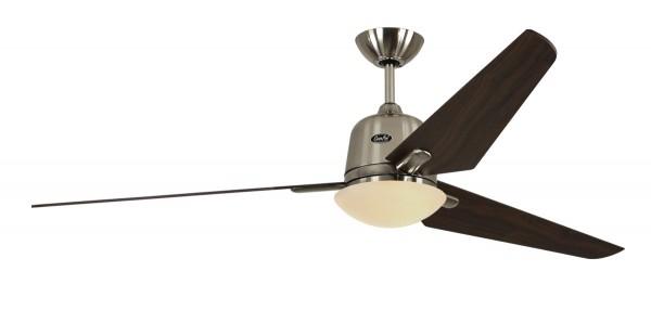 CasaFan Deckenventilator ECO AVIATOS 162 BN-NB - Gehäuse Chrom gebürstet - Flügel Nussbaum - Ø 162 cm - mit Leuchte - mit Fernbedienung - energiesparend