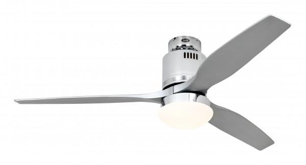 CasaFan Deckenventilator Aerodynamix Eco CH - Chrom glänzend - 3 Flügel Silbergrau - mit Leuchte - mit Fernbedienung - energiesparend