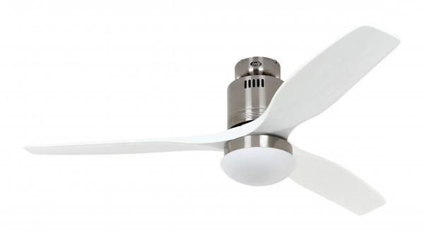 CasaFan Deckenventilator Aerodynamix Eco BN - Chrom gebürstet - 3 Flügel Weiß - mit Leuchte - mit Fernbedienung - energiesparend