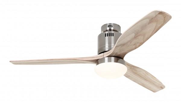 CasaFan Deckenventilator Aerodynamix Eco BN - Chrom gebürstet - 3 Flügel Holz natur - mit Leuchte - mit Fernbedienung - energiesparend