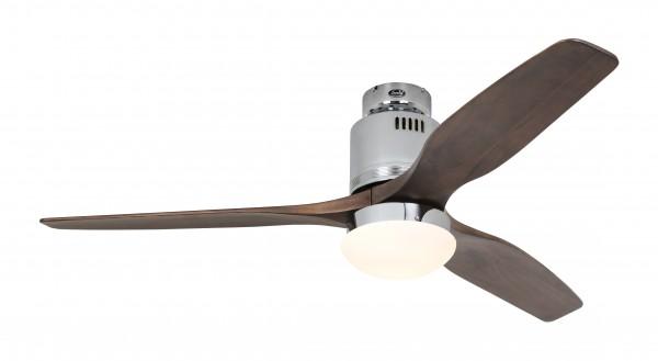 CasaFan Deckenventilator Aerodynamix Eco CH - Chrom glänzend - 3 Flügel Nussbaum - mit Leuchte - mit Fernbedienung - energiesparend