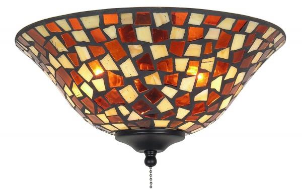 Leuchtenglas Schale Bernstein/ braunrotes Mosaik