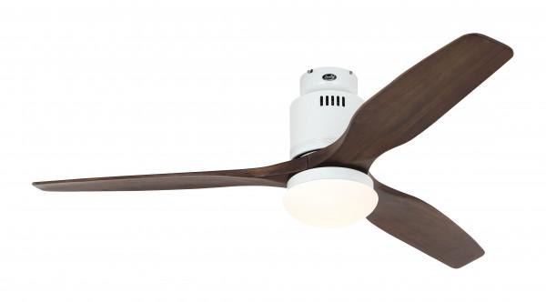 CasaFan Deckenventilator Aerodynamix Eco WE - Weiß - 3 Flügel Nussbaum - mit Leuchte - mit Fernbedienung - energiesparend