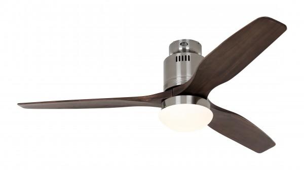 CasaFan Deckenventilator Aerodynamix Eco BN - Chrom gebürstet - 3 Flügel Nussbaum - mit Leuchte - mit Fernbedienung - energiesparend
